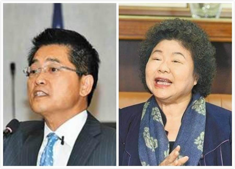 前台東縣長黃健庭(左)、陳菊(右)