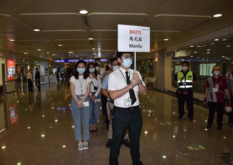 桃園機場演練國際旅客來台轉機。(桃機公司提供/陳祐誠傳真)