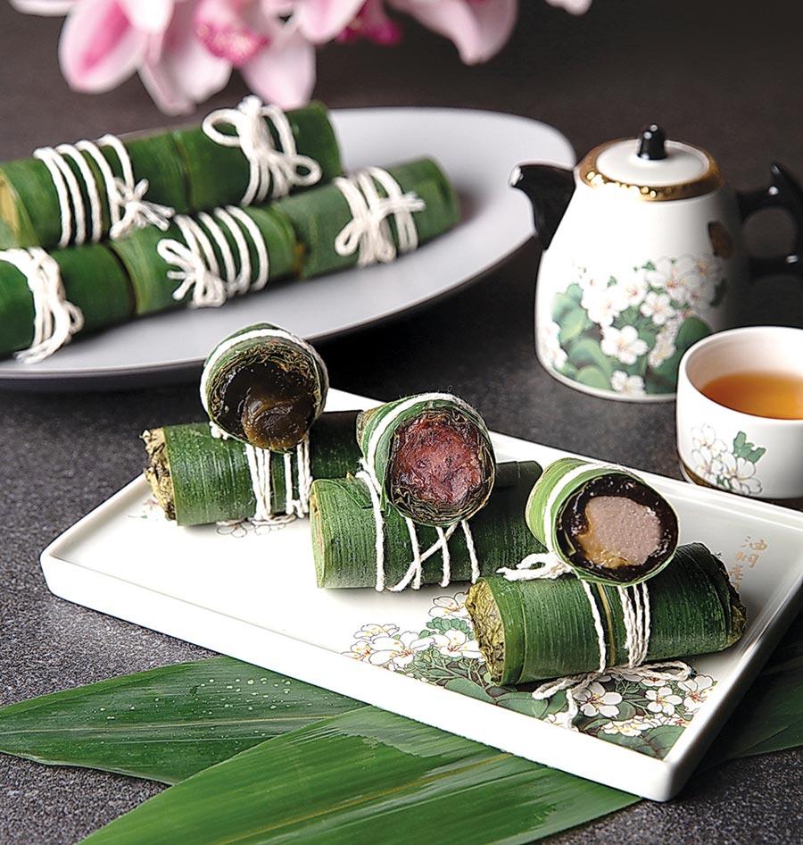 台北萬豪酒店今年新推出的〈萬豪幸福冰心粽〉,共有桂花烏龍、野櫻洛神莓、錫蘭甜芋栗子等不同口味選擇,三種口味六顆688元。圖/業者提供