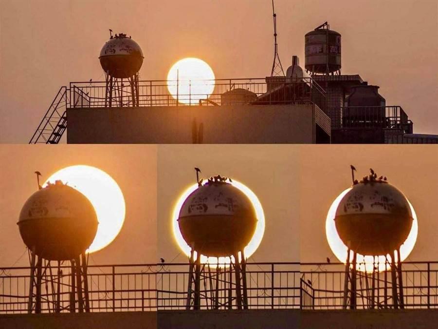 網友分享水塔遮住太陽,找個角度看就像日環食。(摘自臉書社團《嘉義市大小事》)