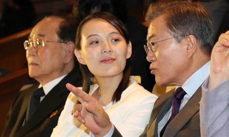 金與正2018年2月訪問南韓和文在寅一同欣賞表演。(圖/AP)