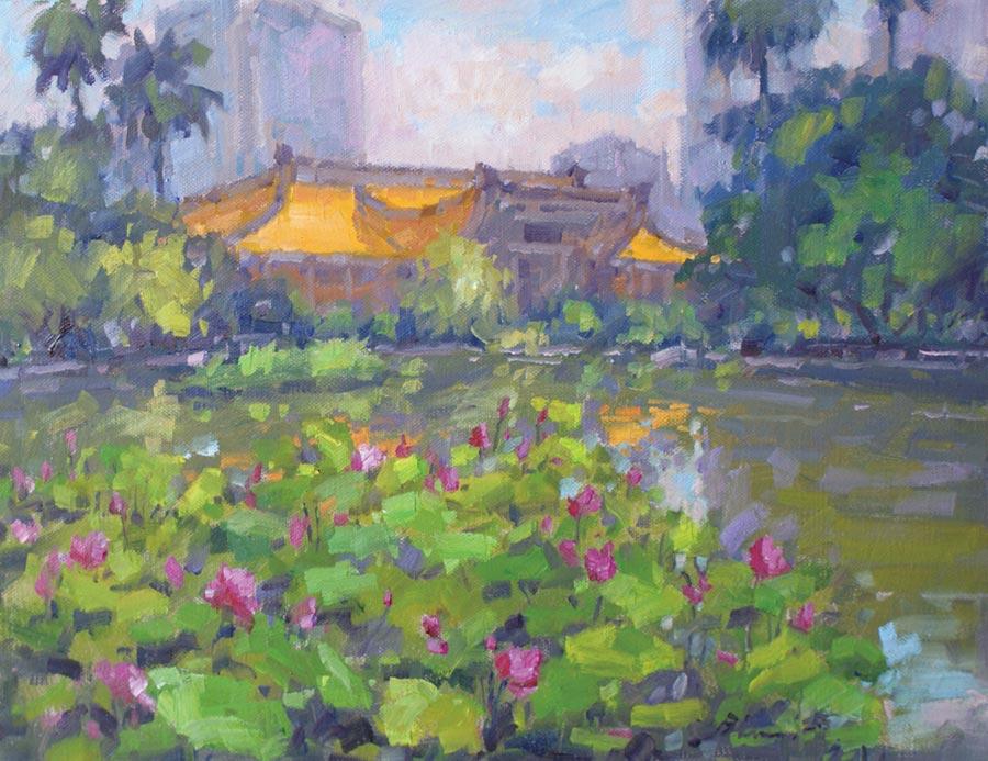 潘蓬彬,《荷塘》,油畫,10P。   圖/潘蓬彬提供