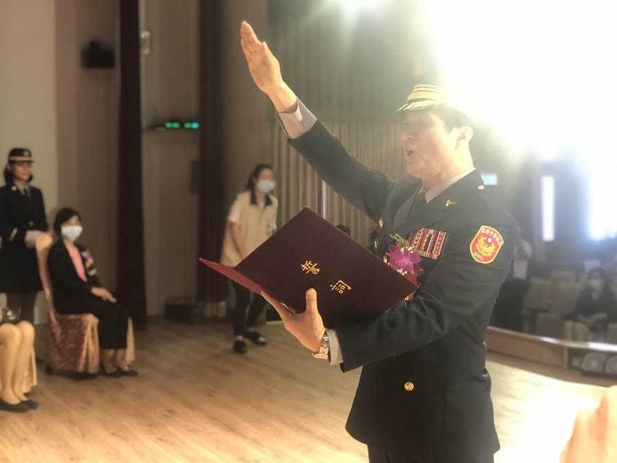 基隆市警察局長今天上午宣誓就職。(許家寧攝)