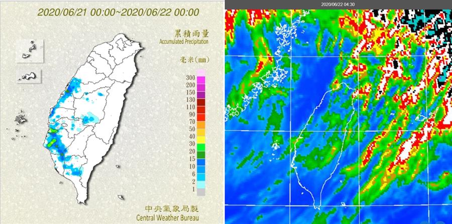 昨日累積雨量圖(左圖)顯示,清晨上午間台灣海峽的雨帶,移入時帶來明顯降雨;午後部分山區及平地,有小範圍短暫雷陣雨。今晨4:30紅外線色調強化雲圖(右圖)顯示,台灣上空有從「滯留鋒」往南飄的高層卷雲。(取自氣象局官網)