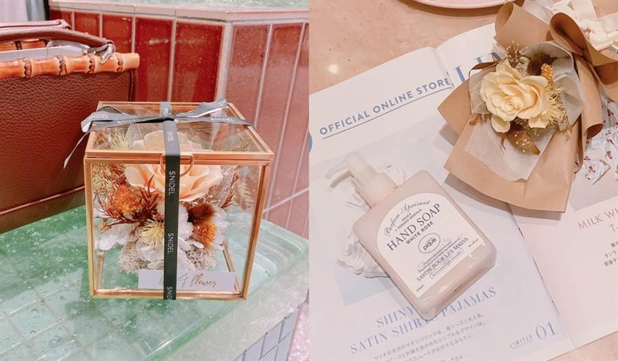 消費滿額禮有浪花永生花珠寶盒和浪花永生花束,禮品非常精緻漂亮。(圖/邱映慈攝影)