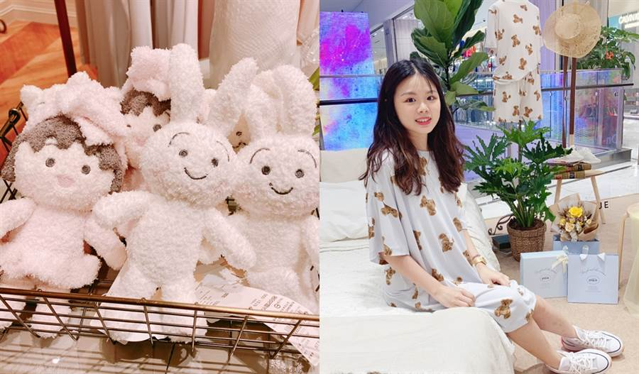 gelato pique的可愛小熊睡衣和櫻桃小丸子聯名布偶。(圖/邱映慈攝影)