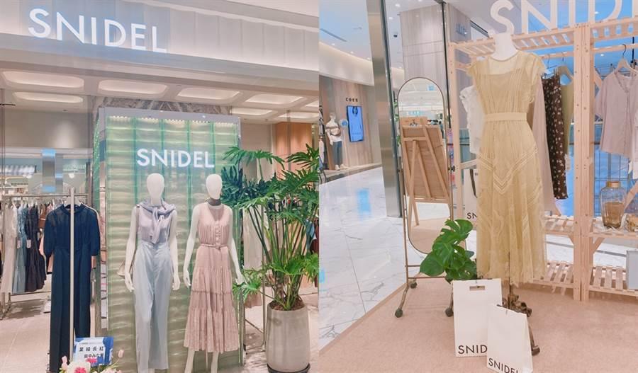 SNIDEL的拍照打卡點和店裝,店裝使用的壁紙、玻璃皆為環保材質。(圖/邱映慈攝影)