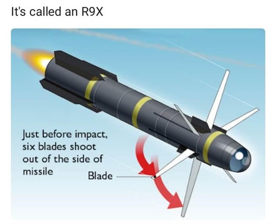 R9X飛彈會張開6支刀片,切開較軟的車輛。(圖/美國陸軍)