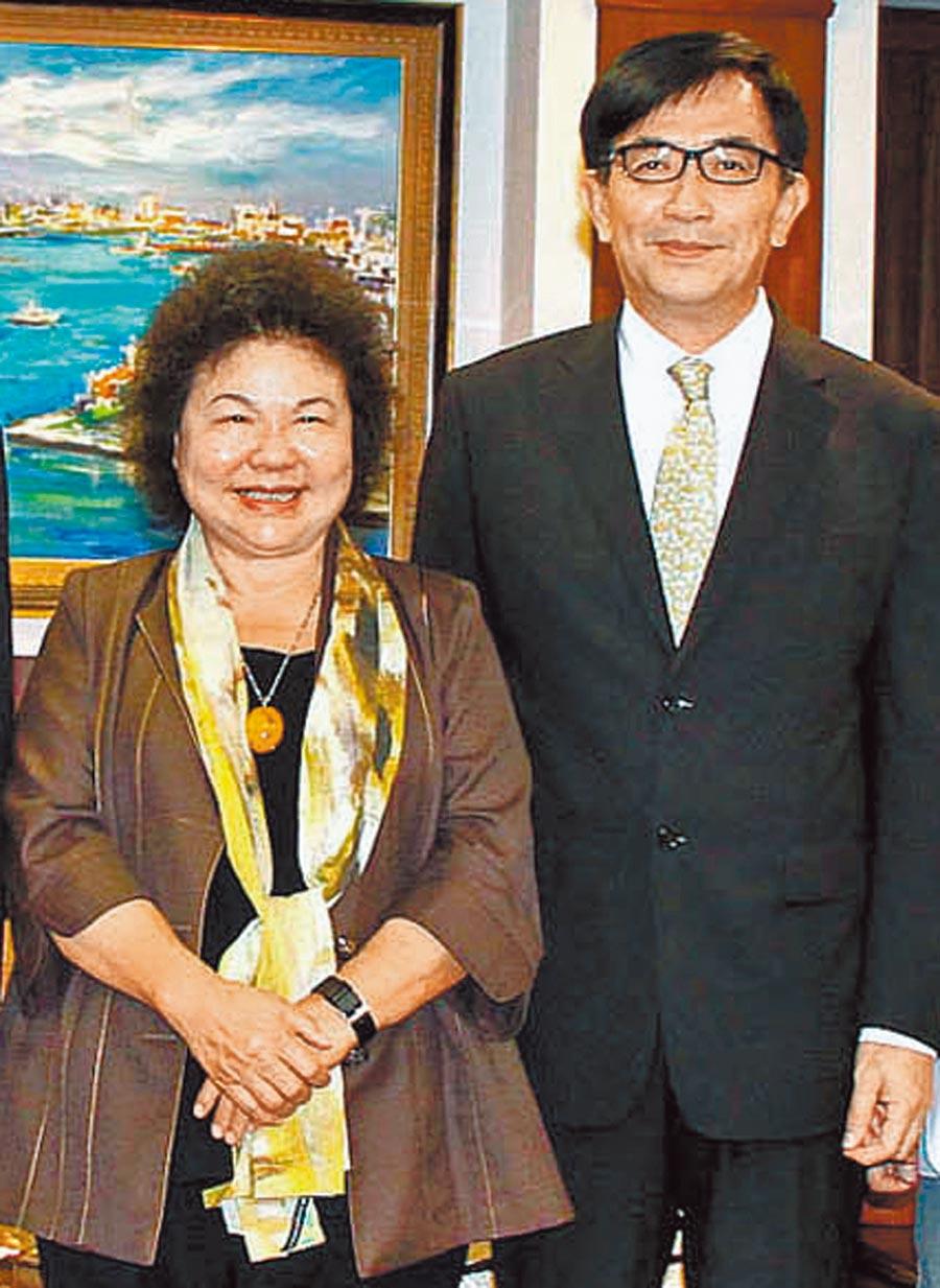陳菊(左)相當倚重吳宏謀(右)工程專業。(本報資料照片)