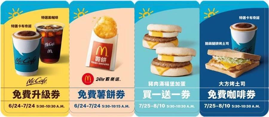 6月24日起至26日連續三天,全日不分時段至麥當勞餐廳消費餐飲、不限金額,就送一組「早安優惠券」,可用來兌換不同商品。(圖/麥當勞)