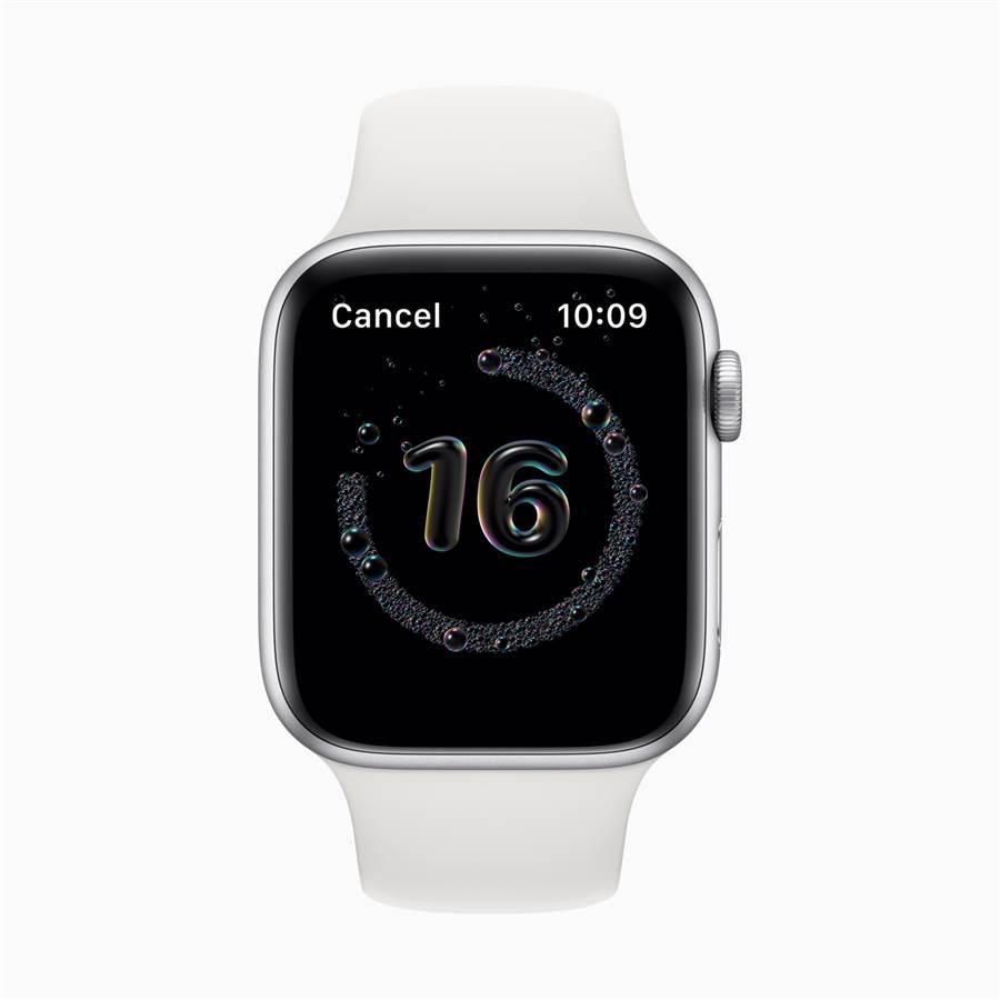運行watchOS 7的Apple Watch可⾃動偵測到洗⼿動作後,並會啟動 20 秒的計時器。(摘自蘋果官網)