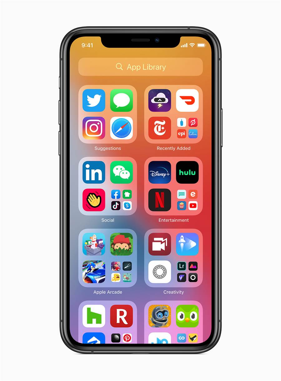 「App 資料庫」讓使用者透過「主畫面」頁面結尾易於瀏覽的簡單顯示方式,更輕鬆存取所有 apps。(摘自蘋果官網)