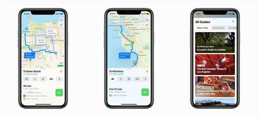 「地圖」新增單車導航模式、電動車路線(可根據目前的車輛充電量與充電器類型,沿著計畫的路線加上充電站點),還有全新的導遊功能。(摘自蘋果官網)