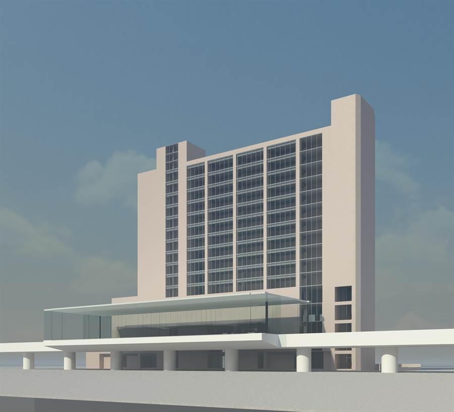 新北環狀線板橋站外觀模擬透視圖。(新北市捷運局提供/許哲瑗新北傳真)