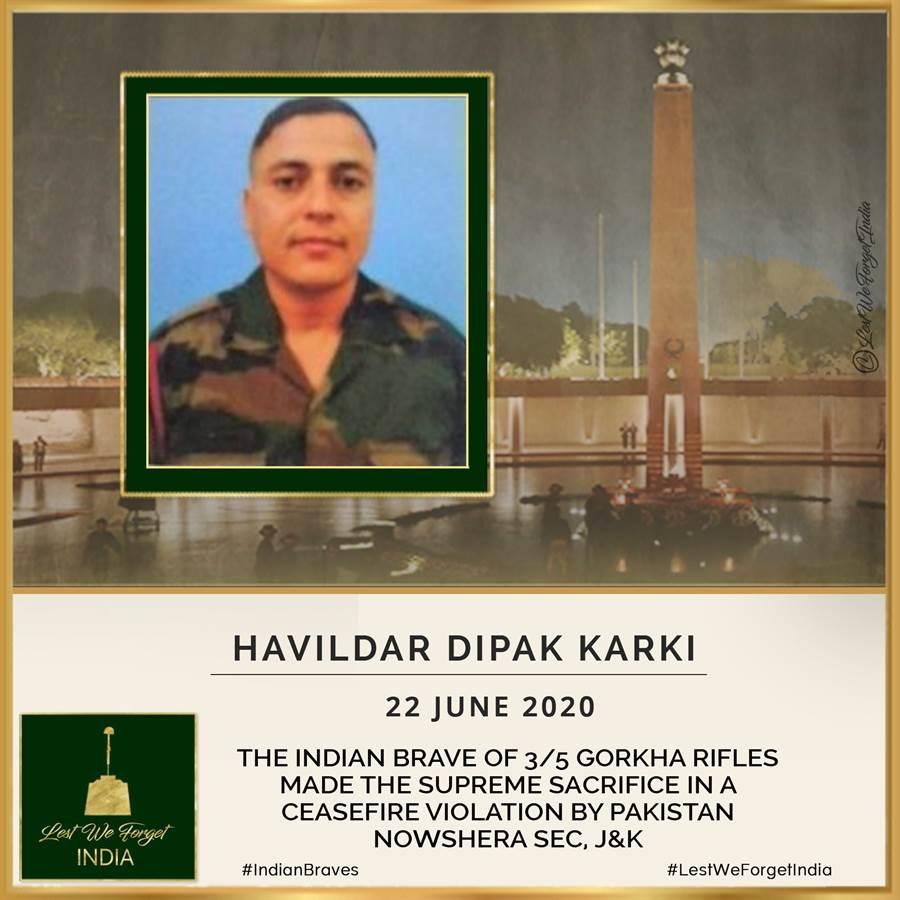 遭巴基斯坦迫擊砲與輕武器攻擊而傷重不治的印度士兵卡爾基,印度網民為其製作網路悼念圖片。卡爾基是近兩周被巴基斯坦砲擊致死的第3名印度士兵。(圖/推特@prv843)