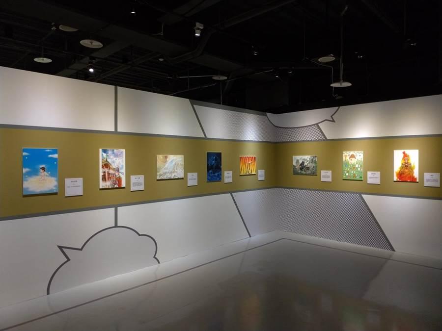 「祈願‧台灣」展區,展出37位台灣老中青三代知名漫畫家、插畫家作品。(圖由世界宗教博物館提供)