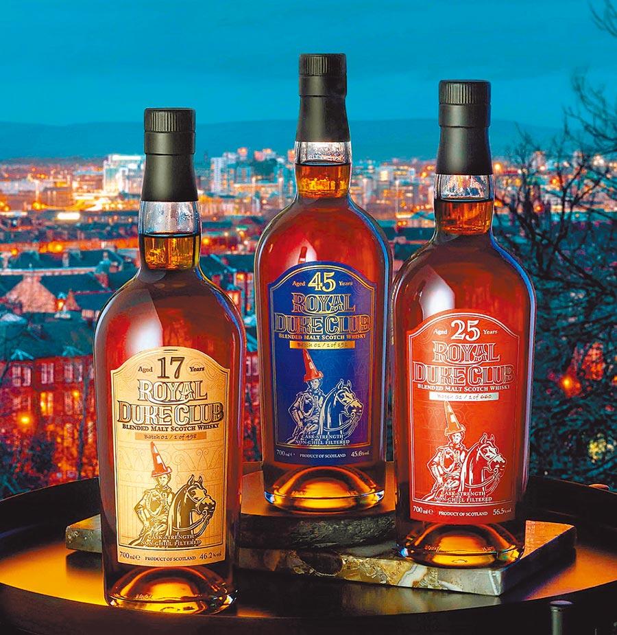 Royal Duke Club紅帽爵士三款各具風格的雪莉桶調和威士忌酒款,皆為台灣專屬版。圖/業者提供