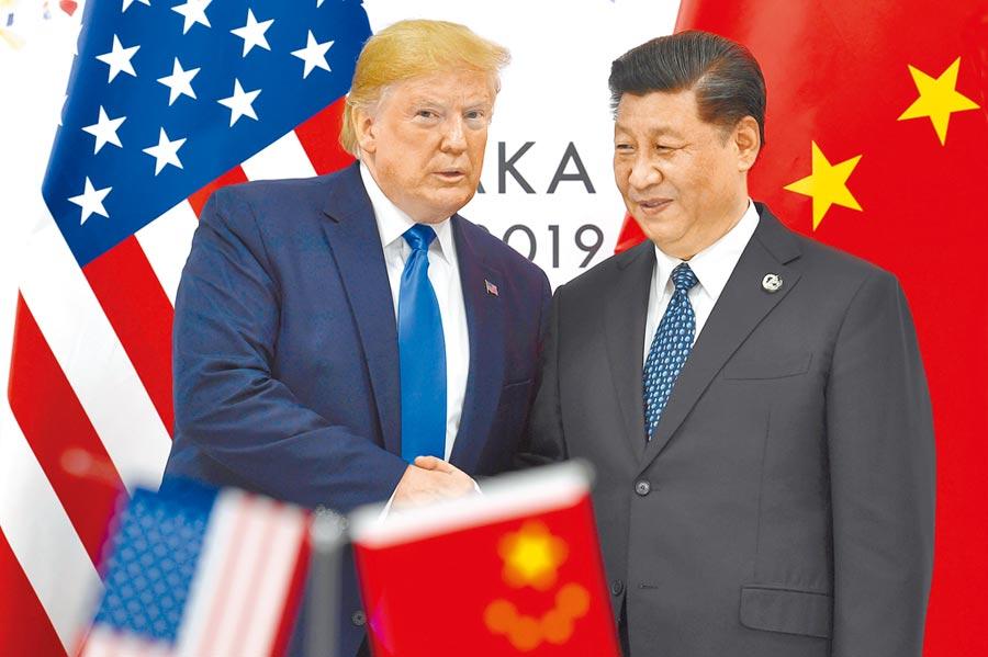 大陸國家領導人習近平和美國總統川普於2019年在日本大阪G20舉行峰會。(美聯社)