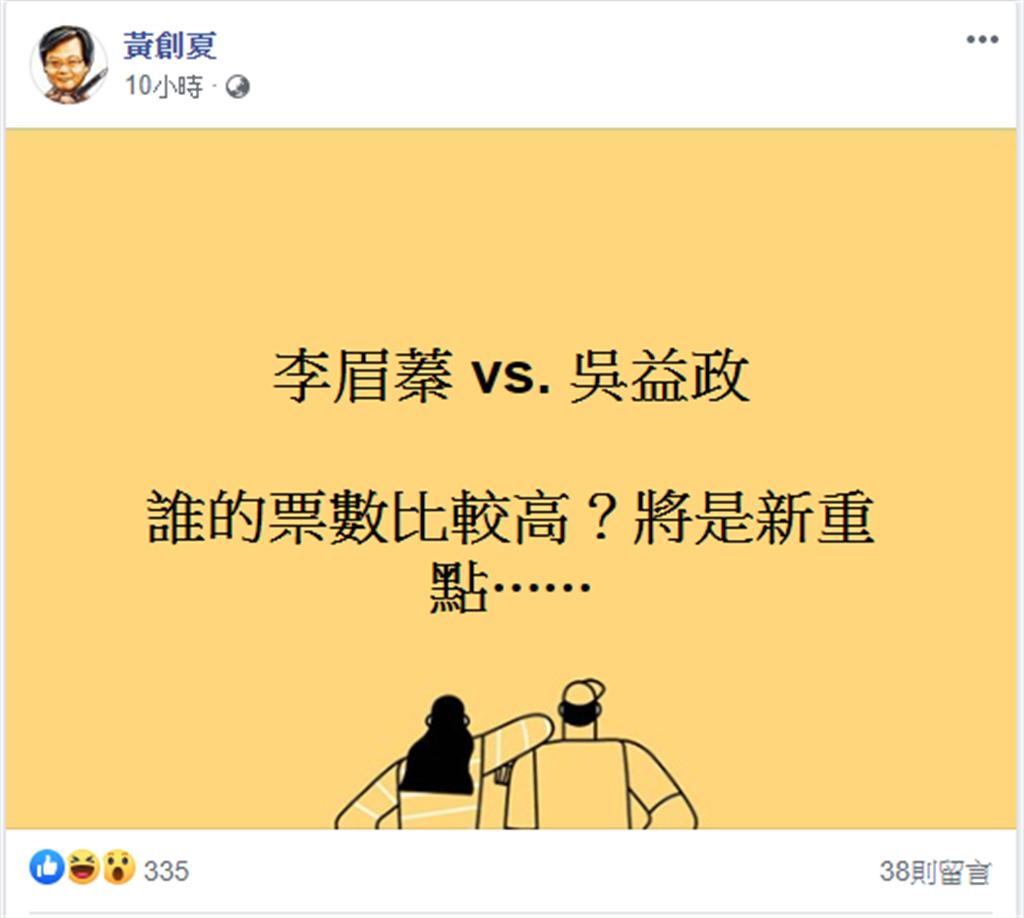 名嘴黃創夏臉書發文討論高雄補選。(圖/翻攝 黃創夏臉書)