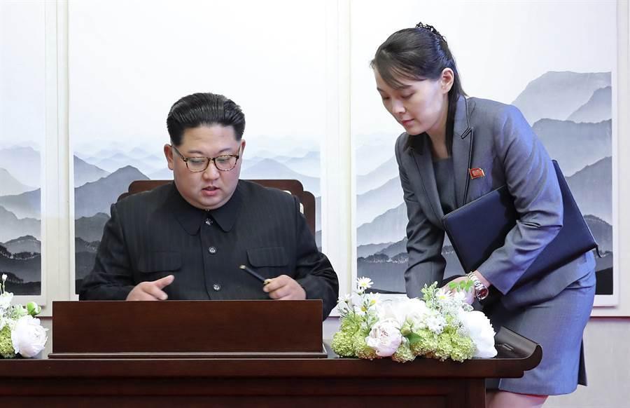 金正恩暫停對南韓采軍事行動計畫,與妹妹金與正兩人的角色引發關注。 圖為金正恩與金與正。 (美聯社)
