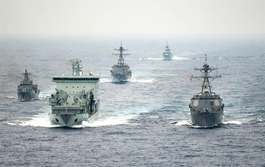 2018年多國舉行大規模「環太平洋軍事演習」的畫面。(美國海軍)