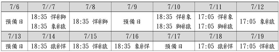 2020中華職棒上半季補賽週賽程表