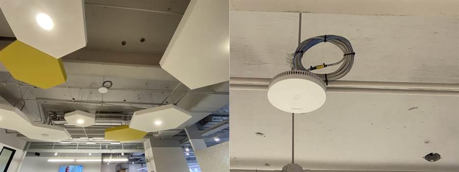遠傳辦公室天花板的5G基地台(左)與近照。(黃慧雯攝)