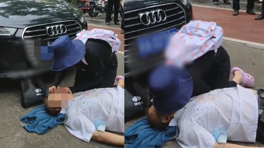 女子不斷替老翁實施CPR(圖片取自/澎湃新聞)