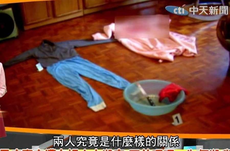 李男與陳靖怡談復合不成,憤而行凶,女方鮮血染紅睡衣。(圖/翻攝自中天電視YouTube)