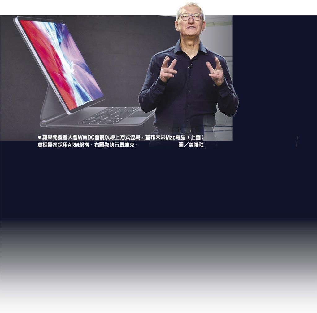 蘋果開發者大會WWDC首度以線上方式登場,宣布未來Mac電腦(上圖)處理器將採用ARM架構。右圖為執行長庫克。                圖/美聯社