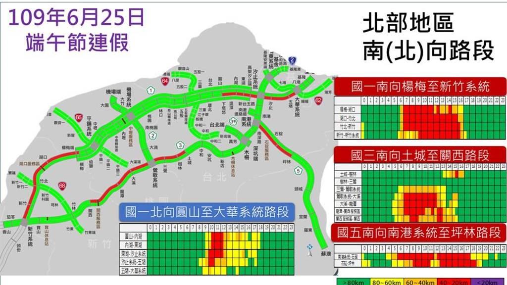 連假首日國道壅塞路段分區預測圖。(圖/高公局提供)