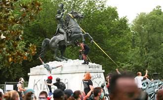 美前總統雕像慘被漆人渣!華府國民兵啟動了