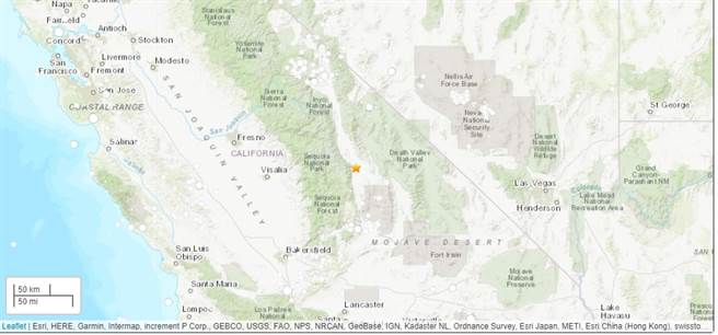 國加州當地時間24日上午10時40分,加州中部靠近內華達州邊界地區發生規模5.8地震。(圖取自翻攝自USGS官網)