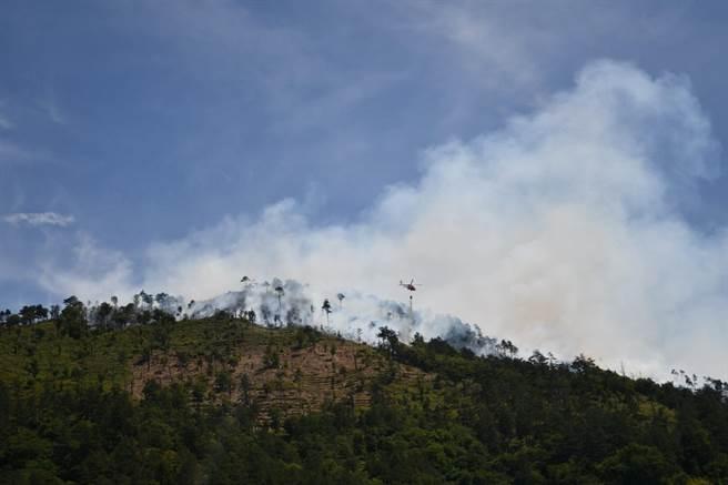 馬武佐野郡山慘遭祝融肆虐一天一夜,目前已焚毀2.8公頃。(東勢林區管理處提供/王文吉台中傳真)