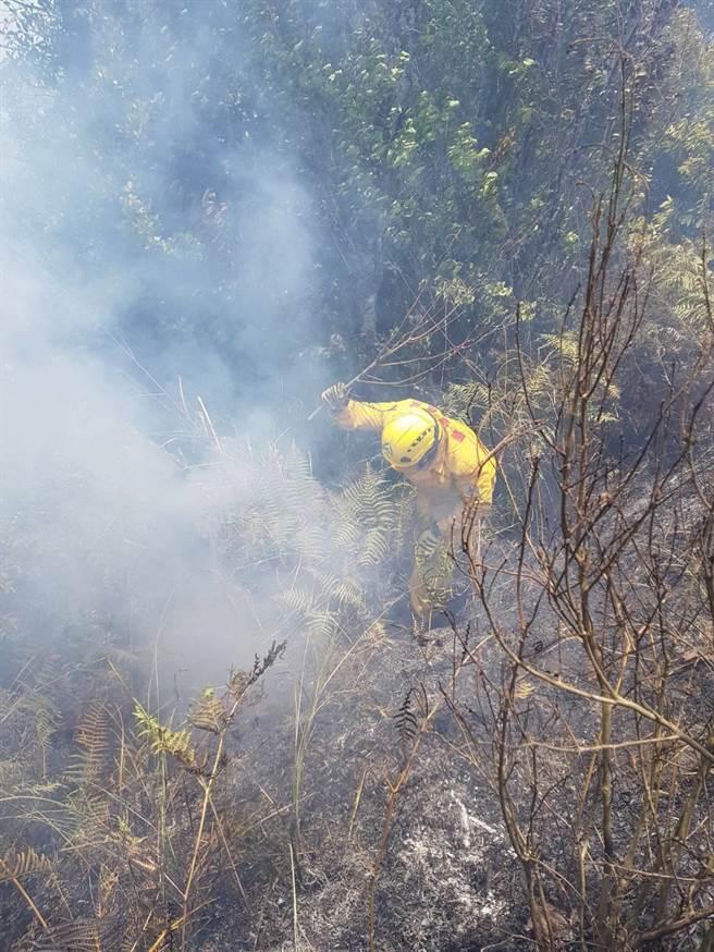 森林護管員克服險峻地形,挺進火場移除燃燒未熄之火苗。(東勢林區管理處提供/王文吉台中傳真)