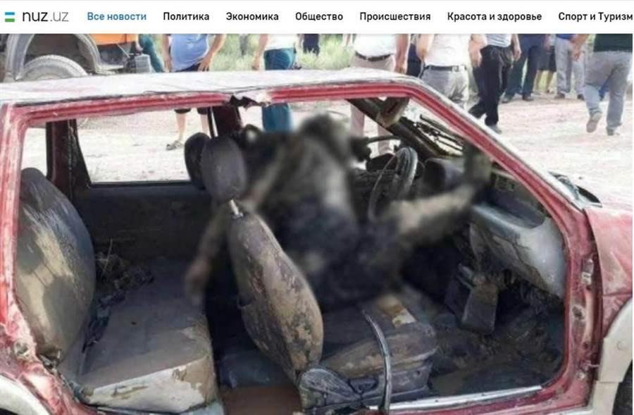烏茲別克沙瓦特運河中,撈起恐怖「車中腐屍」,頸部被用鐵鍊鎖在方向盤。(截自nuz.uz/畫面)