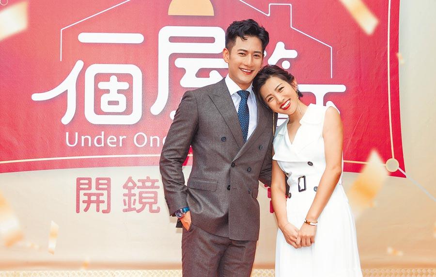 米可白(右)、周孝安在台視新八點檔《一個屋簷下》中飾演相戀14年的情侶。(羅永銘攝)