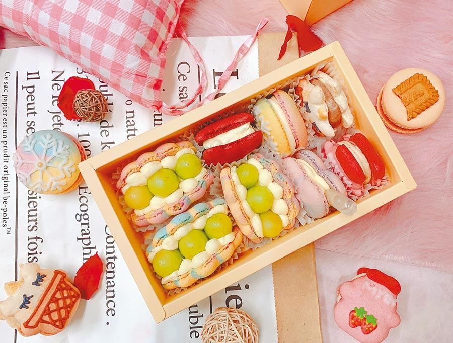板橋大遠百夢幻甜點展獨家「Fascinee菲斯尼法式馬卡龍」盛夏冰沙,平裝8入禮盒930元。(遠百提供)