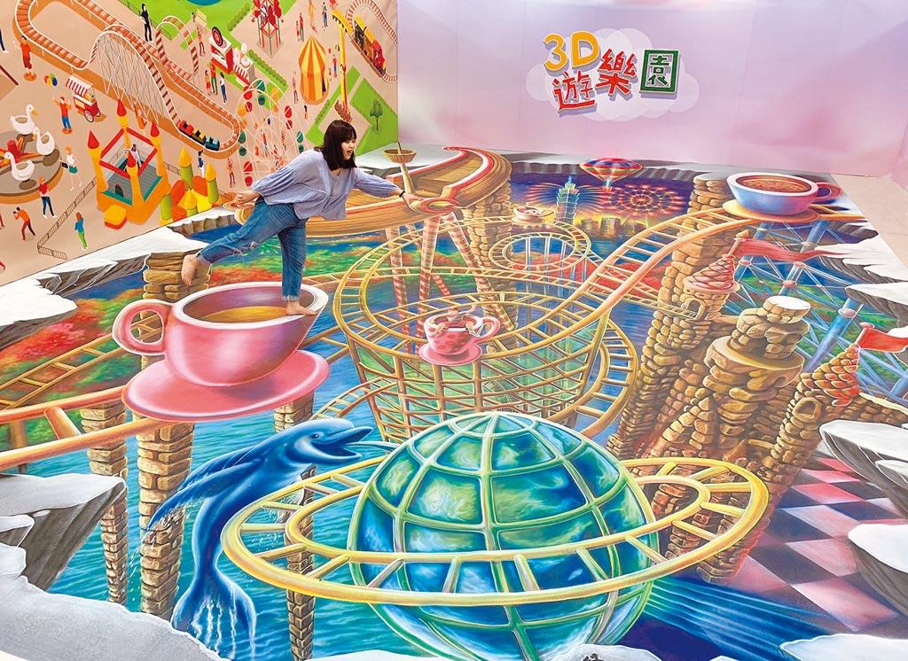 新光三越台北站前店展出圖龍作品「台北好運」,總長超過10公尺,視覺效果強烈。(新光三越提供)