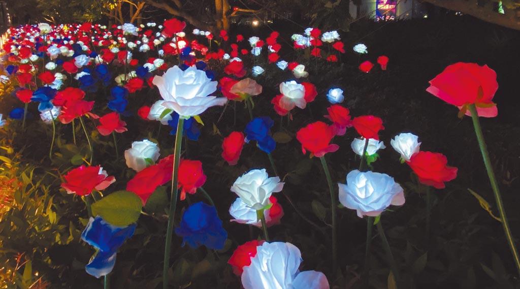 微風南山4樓天際花園是全新拍照景點,近4000朵玫瑰花束讓浪漫夜景多了夢幻。(微風提供)