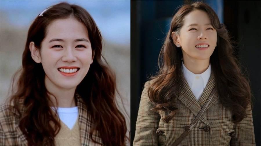 孙艺真21岁演出《假如爱有天意》(左),和38岁演出《爱的迫降》(右),几乎看不出相隔17年。(图/翻摄自网路)