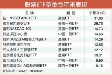 今年來 股票ETF 中國、科技、生技靚