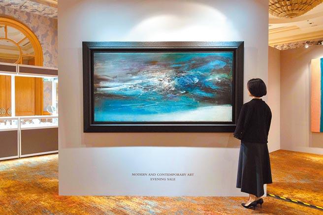 佳士得台北預展上,展出領拍之作趙無極《18.11.66》,起拍價6800萬港元。(Christie's提供)