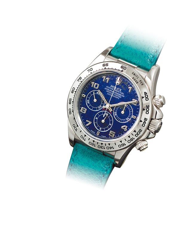蘇富比香港拍賣會主拍品之一,勞力士鉑金青金石表盤ZENITH製機芯DAYTONA腕表,起拍價400萬港元。(Sotheby's提供)
