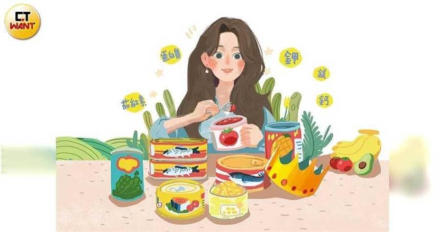 鰻魚、沙丁魚等魚罐頭,都含有鬆軟酥脆的魚骨,食用時可一併補充鈣質。(圖/陳家榆繪)