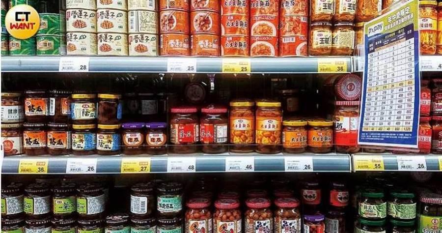 受疫情影響,罐頭銷售量增多,據研究指出,台灣人購買醬瓜、玉米及魚類罐頭比例最高。(圖/鄭清元攝)