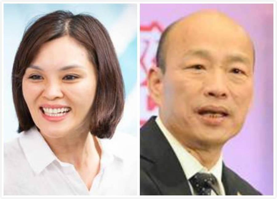 國民黨高雄市長補選候選人李眉蓁(左)、前高雄市長韓國瑜(右)