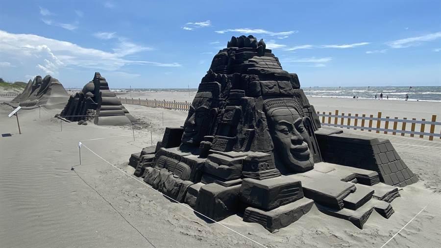 2020大安沙雕音樂季打造柬埔寨吳哥窟,讓民眾免出國,世界景點一次看。(王文吉攝)