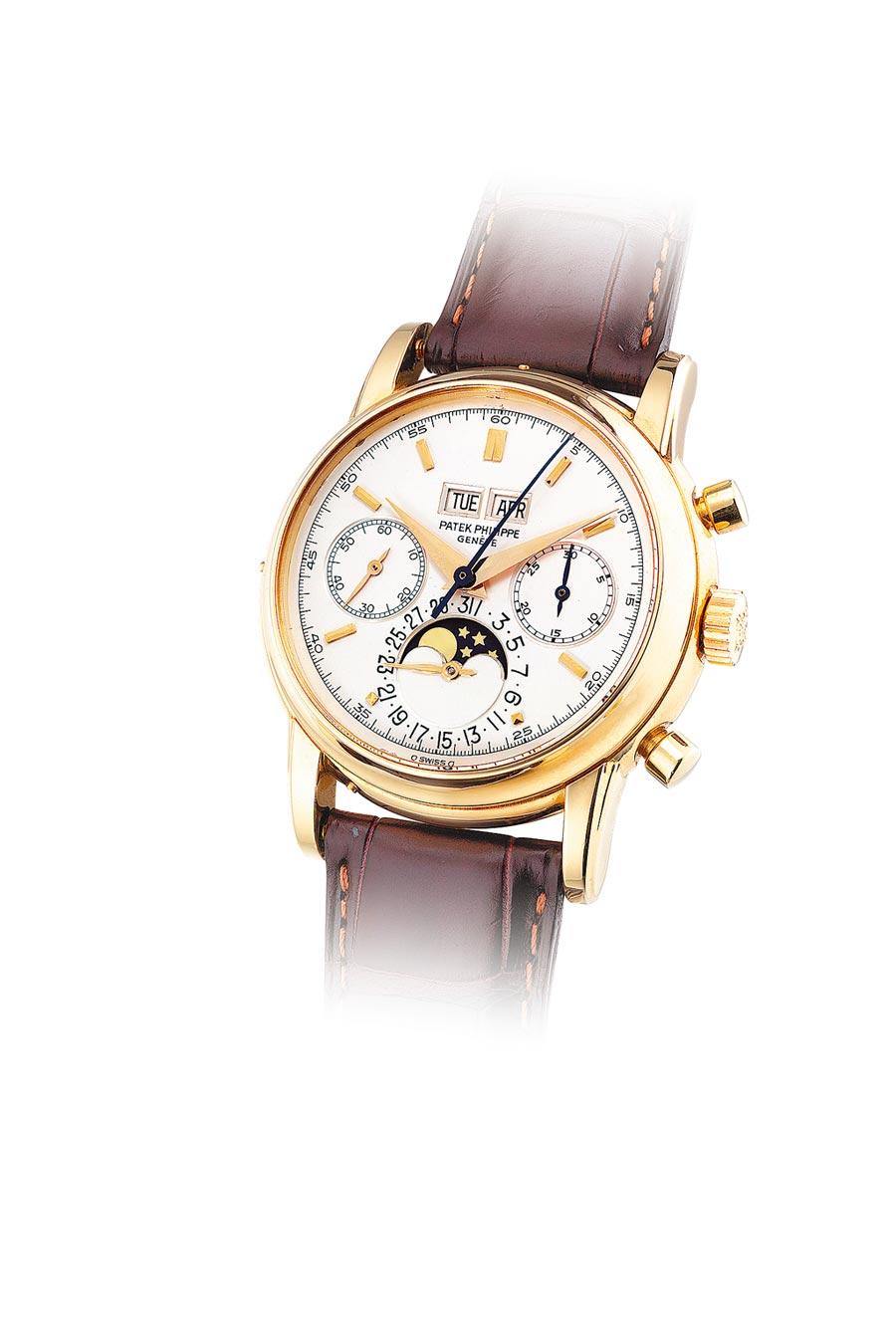 在表壇有「聖杯」之稱的2499/100第4代黃金萬年曆計時腕表,出現在富藝斯拍賣會,起拍價350萬港幣。(Phillips提供)