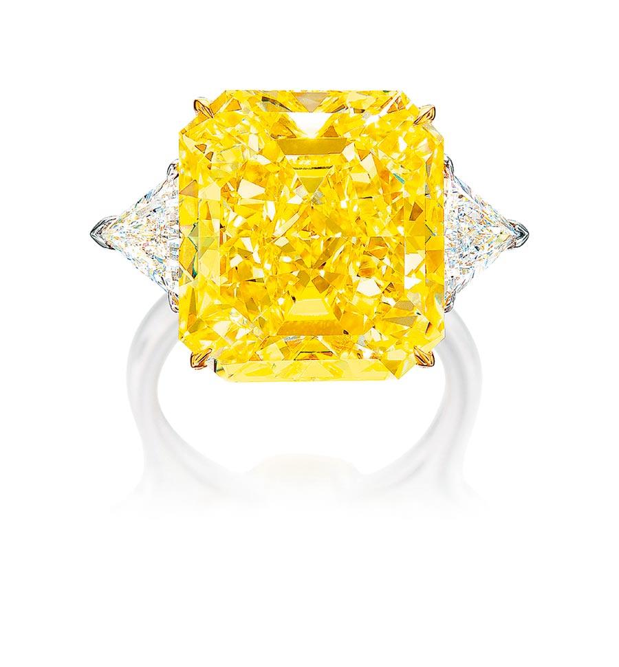 20.25克拉黃鑽戒指,起拍價為880萬港元。(Phillips提供)